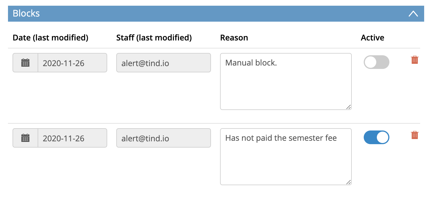 The Blocks section in the patron editor